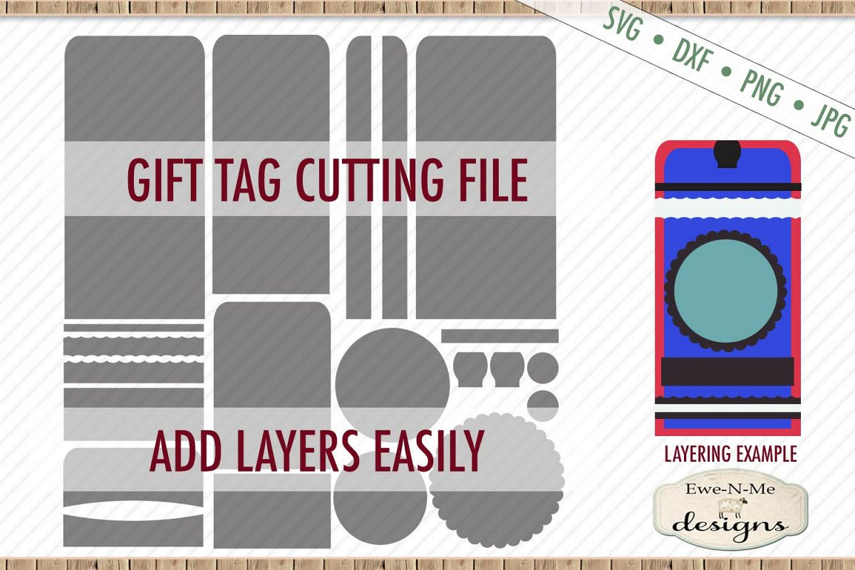 Gift Tag Cut File - Layered Tags - Rounded Top - SVG DXF example image 1