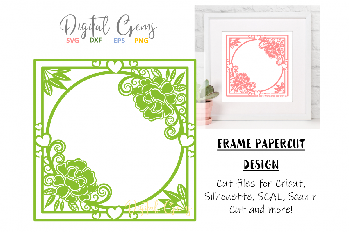 Frame papercut design. SVG / DXF / EPS files example image 1