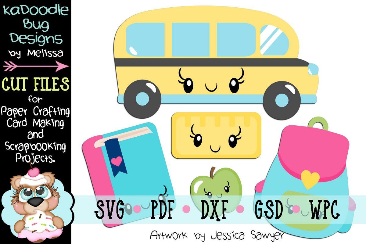 Kawaii School Cut File - SVG PDF DXF GSD WPC example image 1