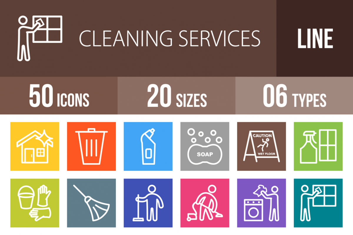 50 Cleaning Services Line Multicolor B/G Icons example image 1