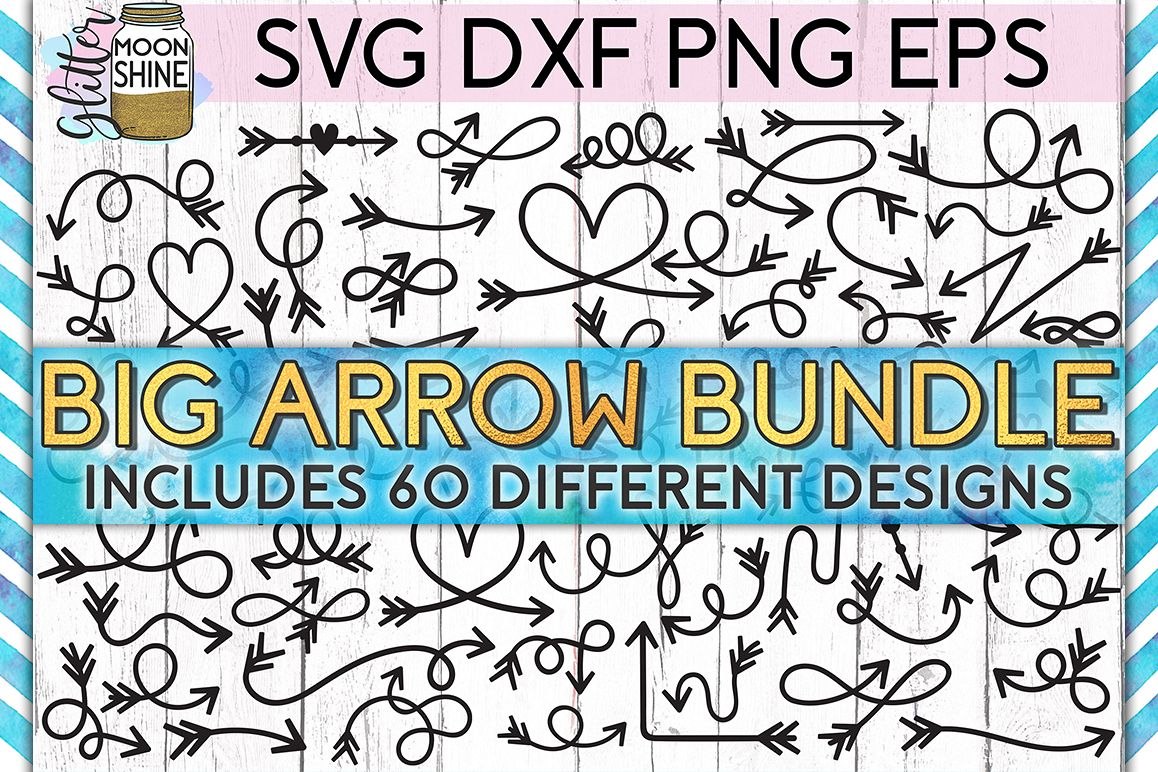 Arrow Bundle of 60 SVG DXF PNG EPS Cutting Files example image 1