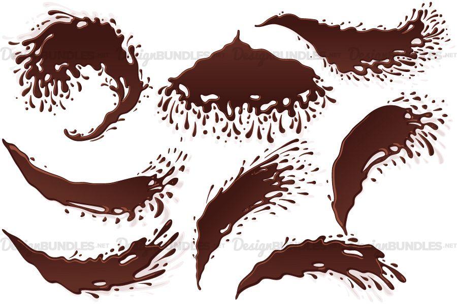 Vector Chocolate Banner Splash Blot Drop Jet Stream Set example image 1