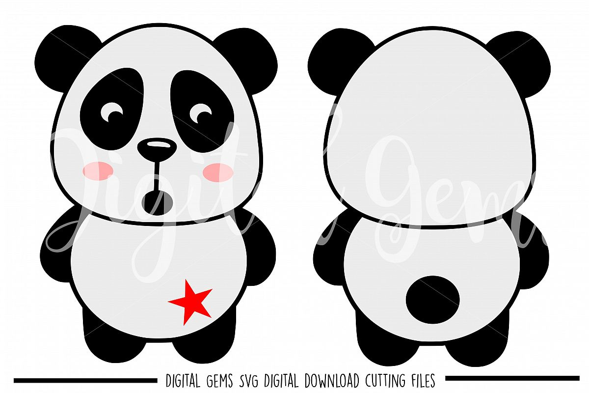 Panda SVG / EPS / DXF / PNG files example image 1