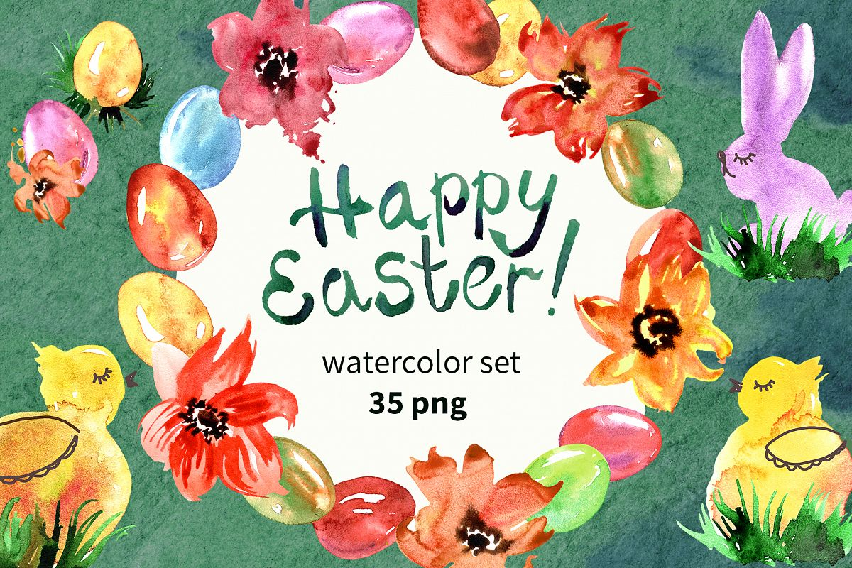 Watercolor Happy Easter example image 1