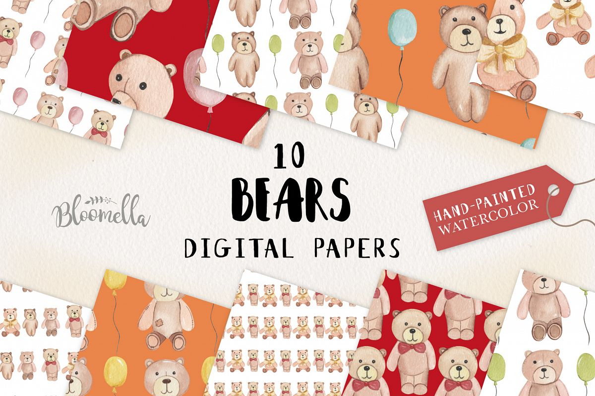 Bears Seamless Patterns Digital Papers Teddy Bears Bows Cute example image 1