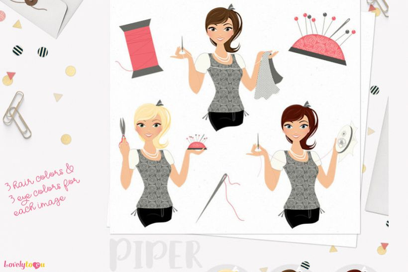 Woman sewing character clip art L167 Piper example image 1