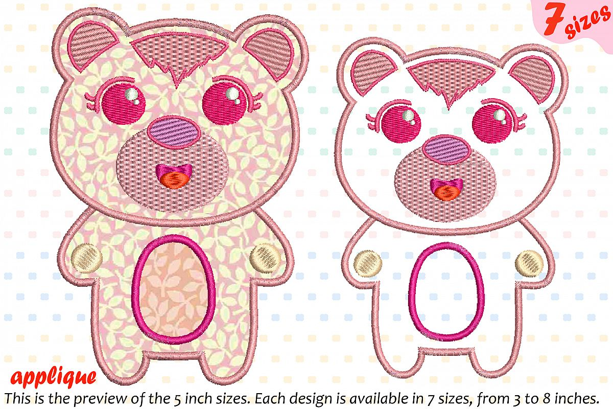 Cute Bear Applique Designs For Embroidery Machine Instant