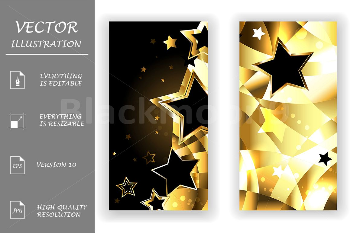 Two Banners with Black Stars example image 1