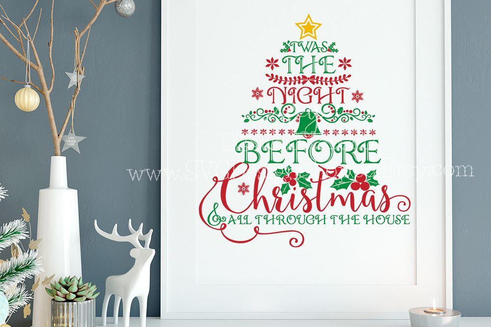Twas The Night Before Christmas Christmas SVG FilesCut Files Heat Transfer Vinyl Scrapbooking Stencil EPS DXF Silhouette Cameo Cricut Commercial Use example image 1