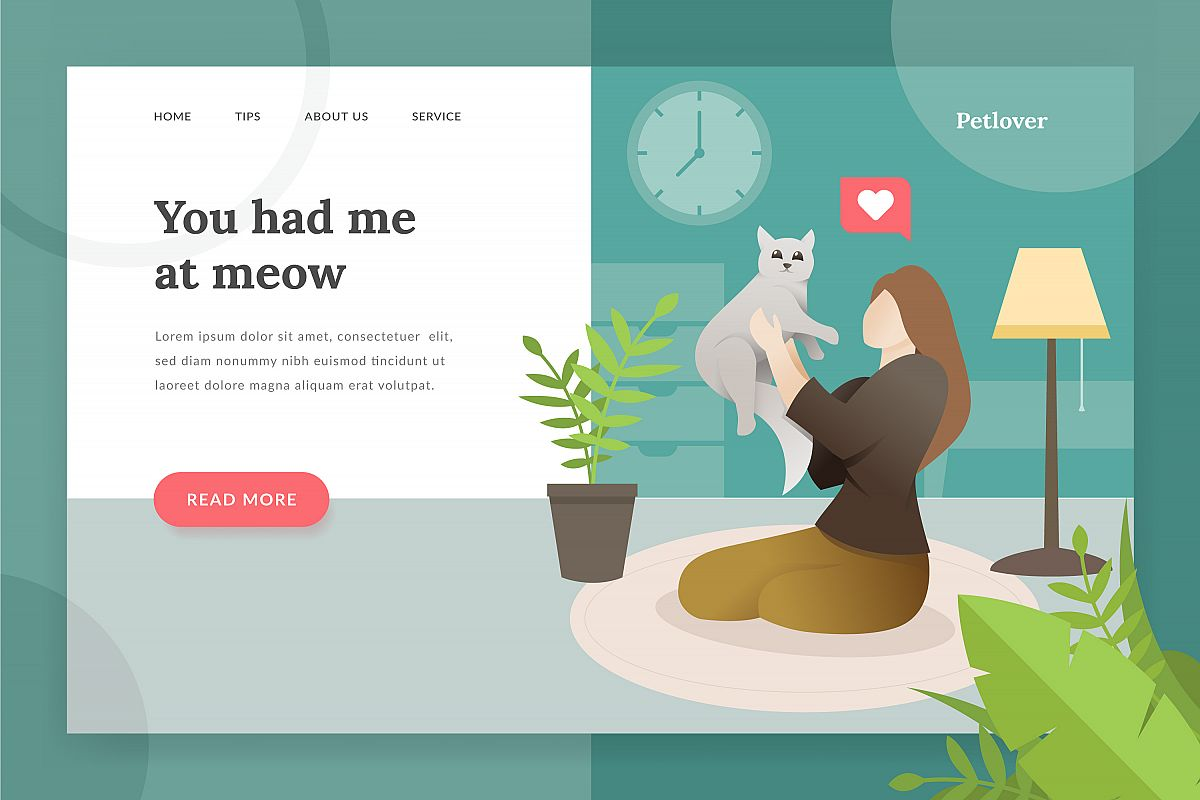Pet lover landing - page illustration example image 1