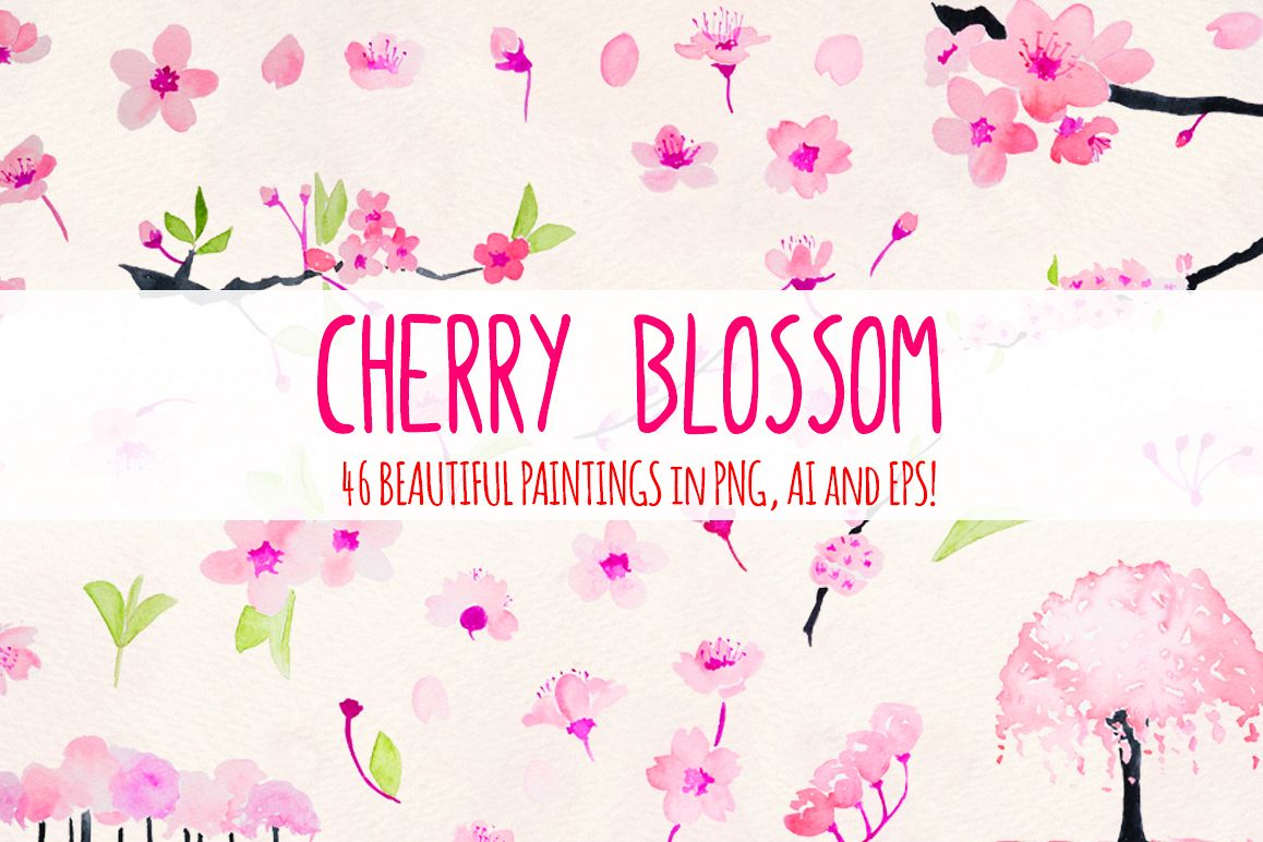Cherry Blossoms 46 Floral Pink Sakura Elements example image 1