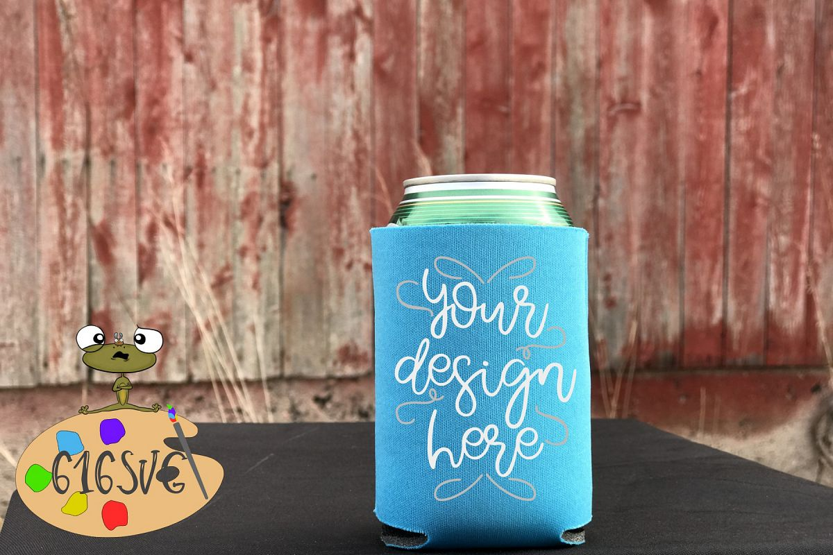 Neon Blue Can Cooler Mockup example image 1