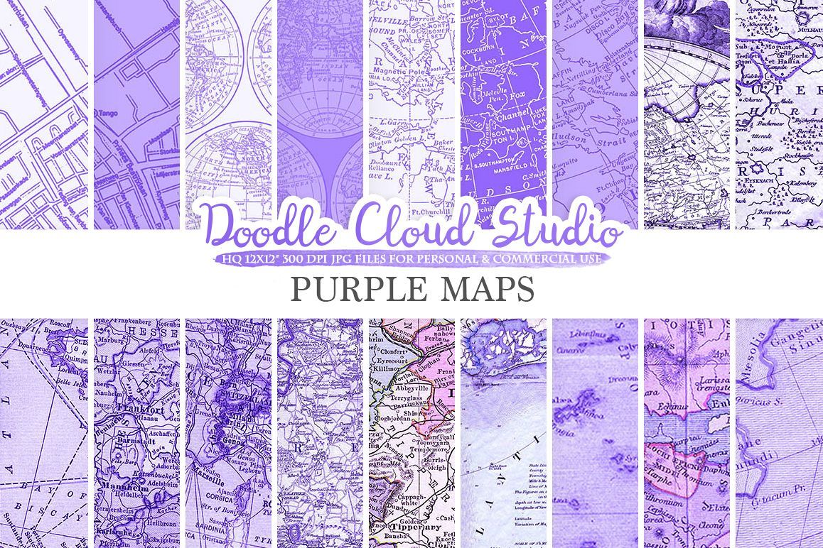 Purple Vintage Maps digital paper, Old World Map, City Nautical Geographic Violet Lilac textures Instant Download Personal & Commercial Use example image 1