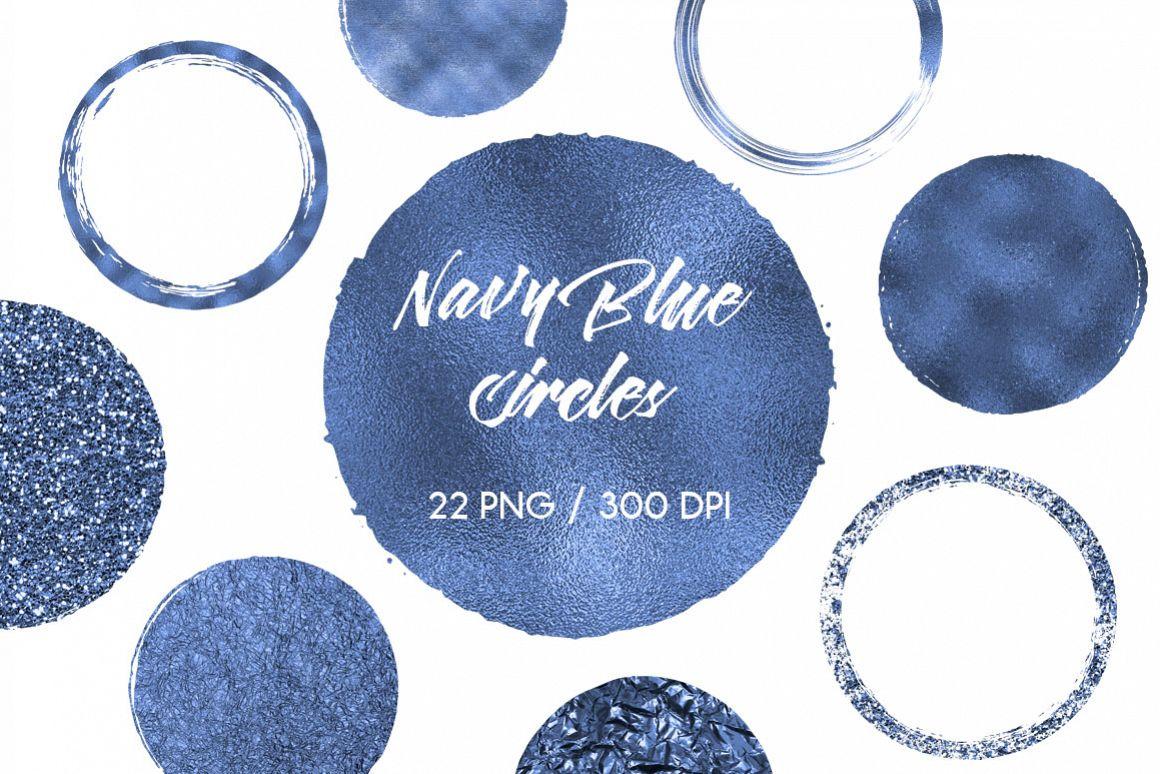 Navy Blue Circles Clip Art example image 1