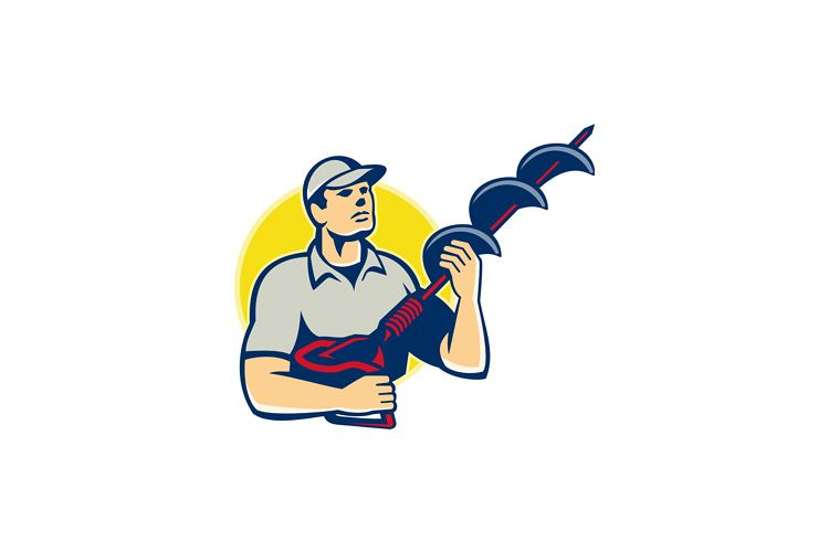 Builder Worker With Hole Driller Auger example image 1