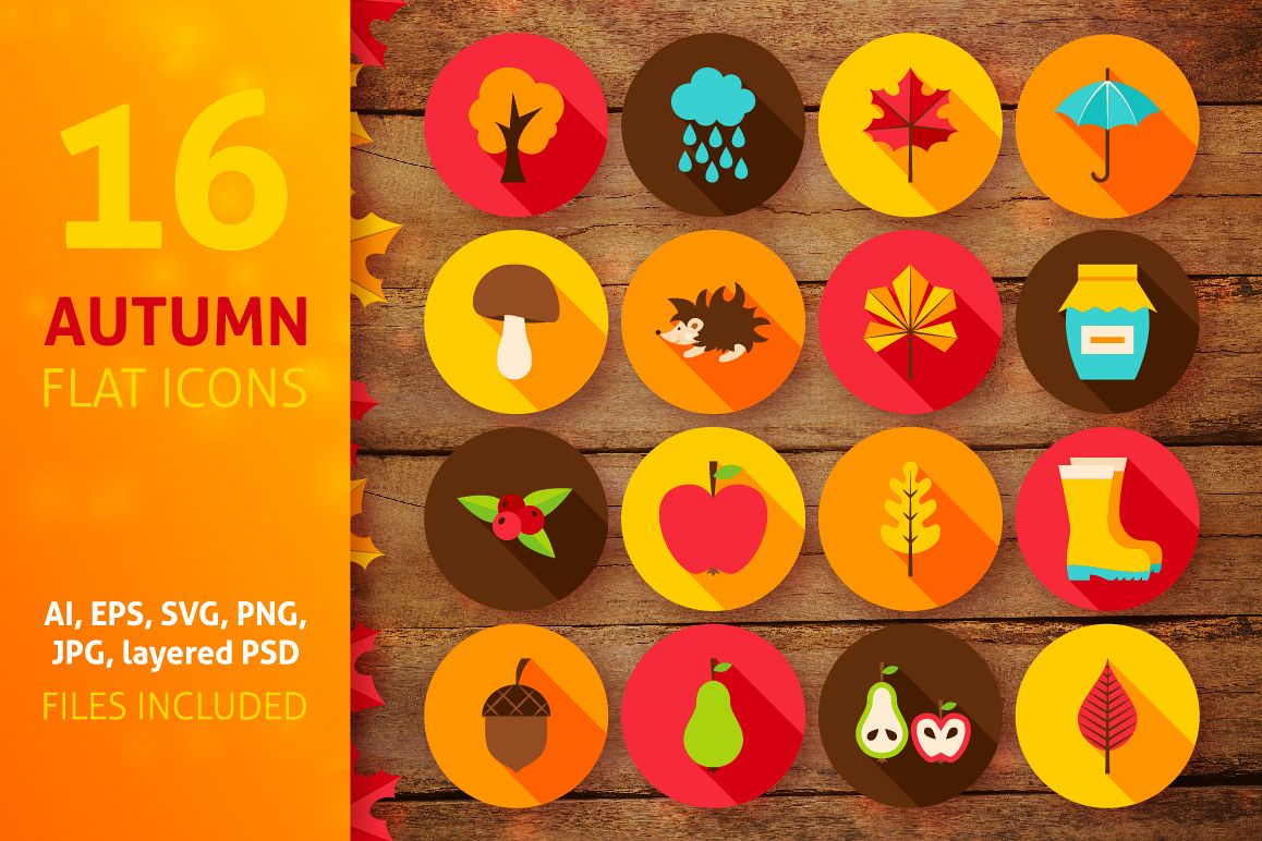 Autumn Flat Icons example image 1