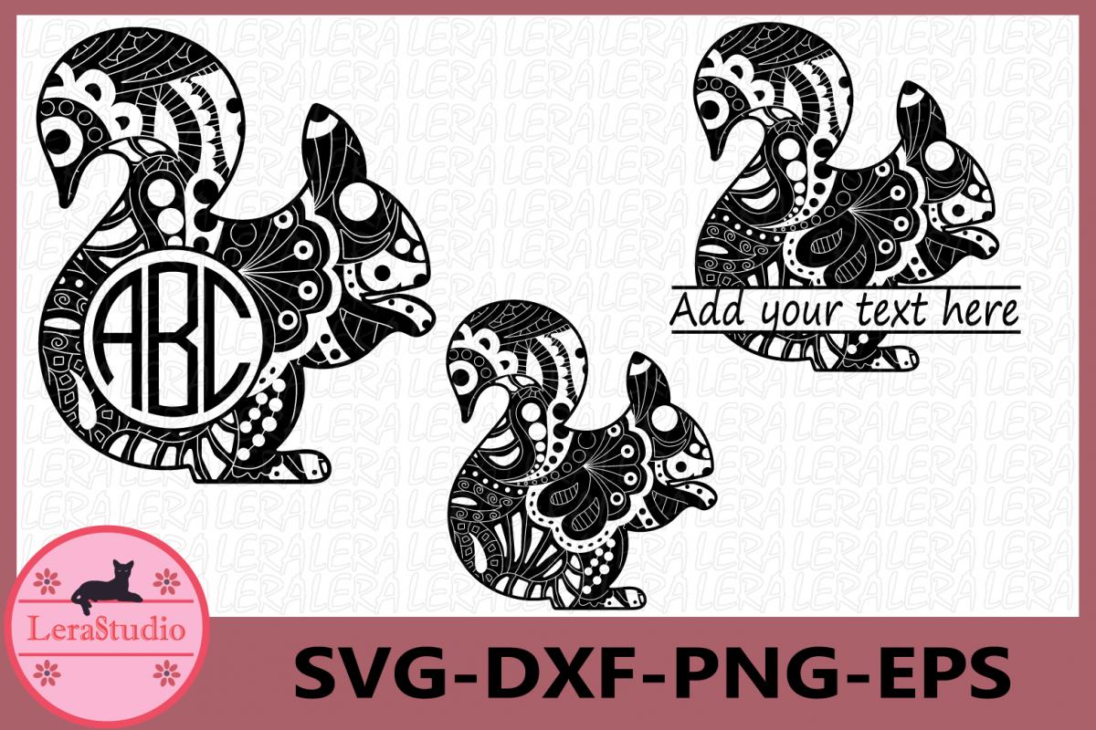 Squirrel Zentangle SVG, Animals Svg, Squirrel SVG, Monogram example image 1