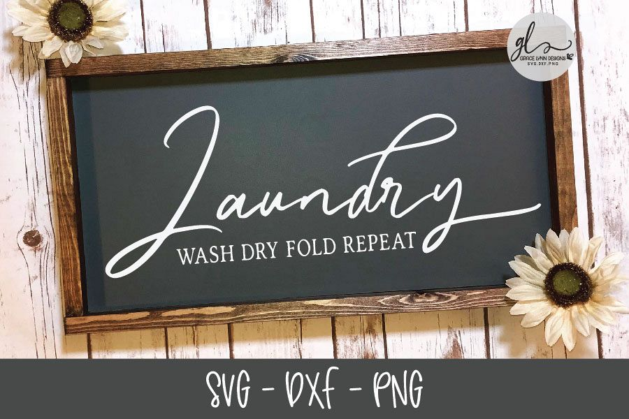 Laundry Wash Dry Fold Repeat - SVG Cut File example image 1