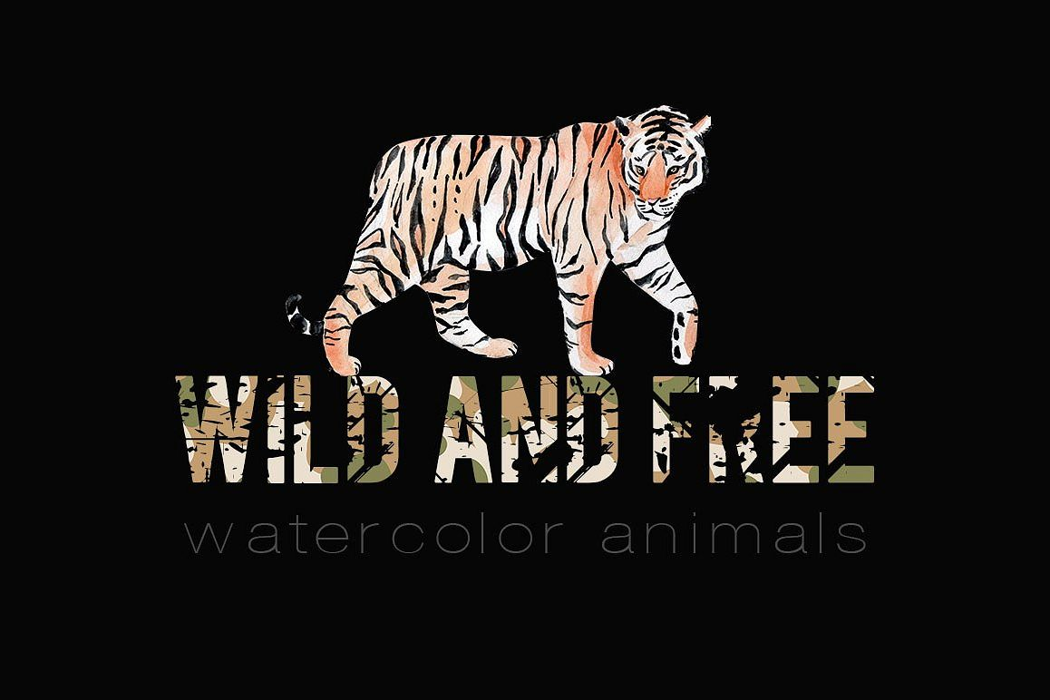 Wild and free. Watercolor animals example image 1
