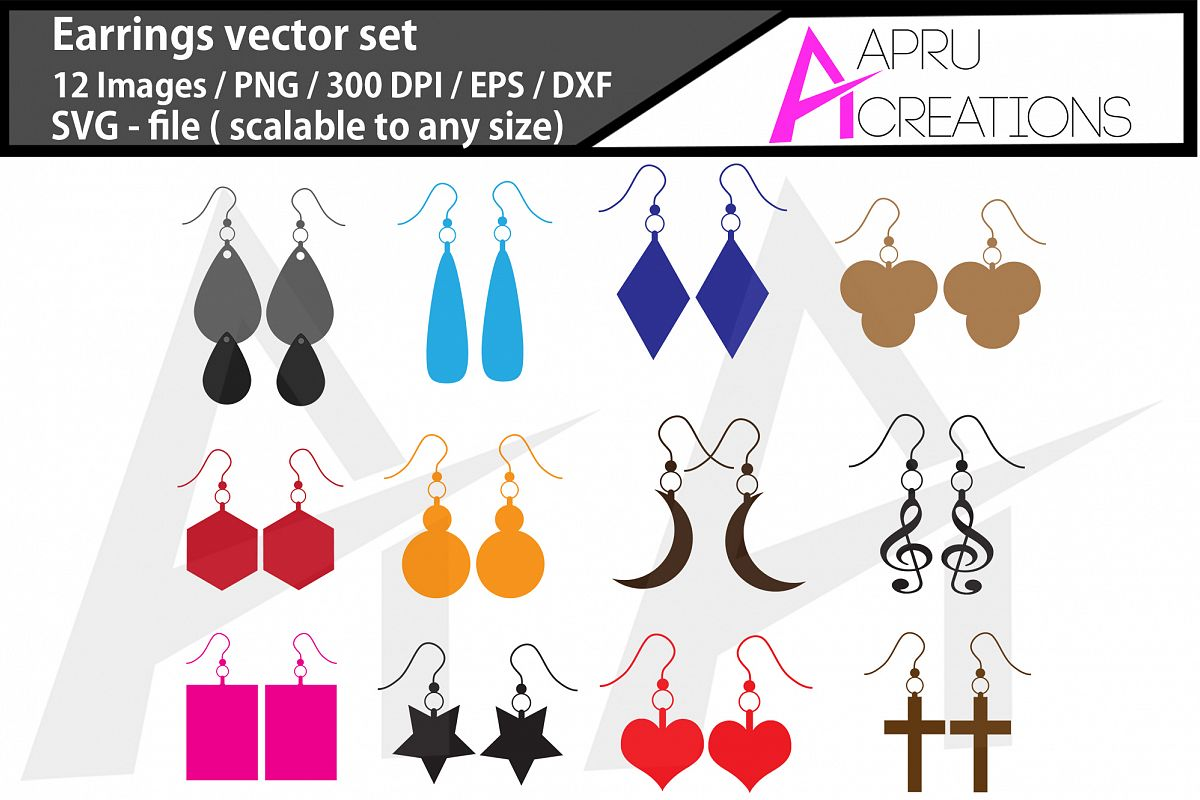 earrings svg / earrings silhouette example image 1