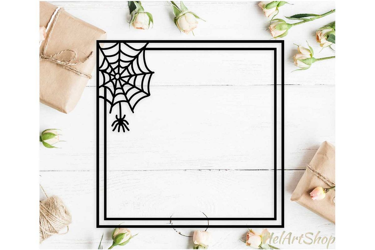 Halloween frame svg, happy halloween svg, spider net svg example image 1