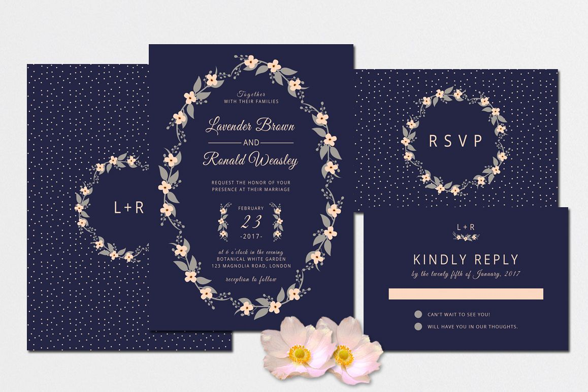 Floral Wreath Wedding Invitation + RSVP example image 1