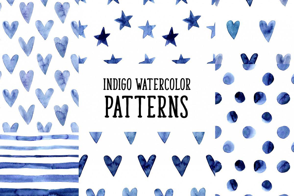 Indigo Blue Watercolor Patterns example image 1