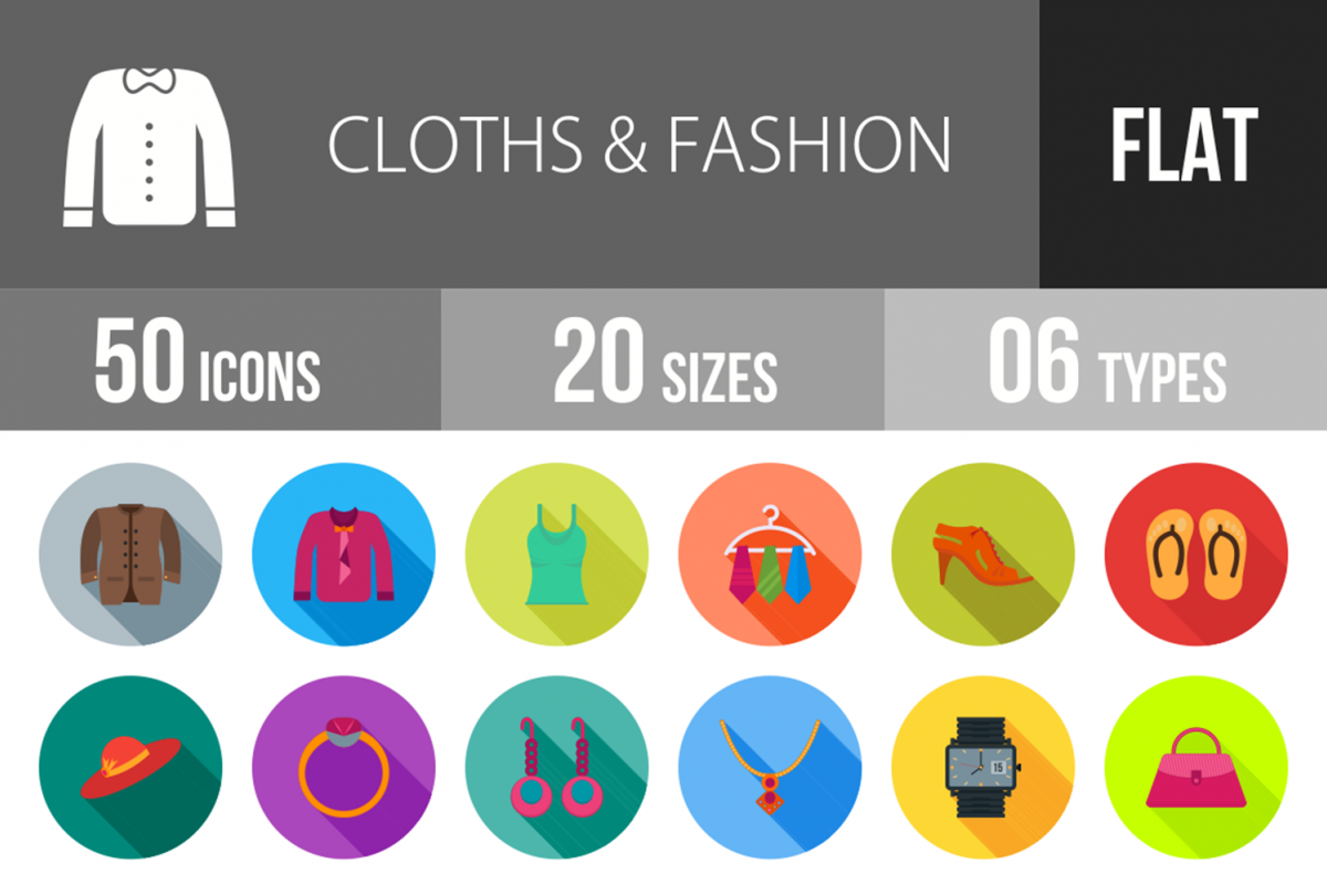 50 Clothes & Fashion Flat Long Shadow Icons example image 1