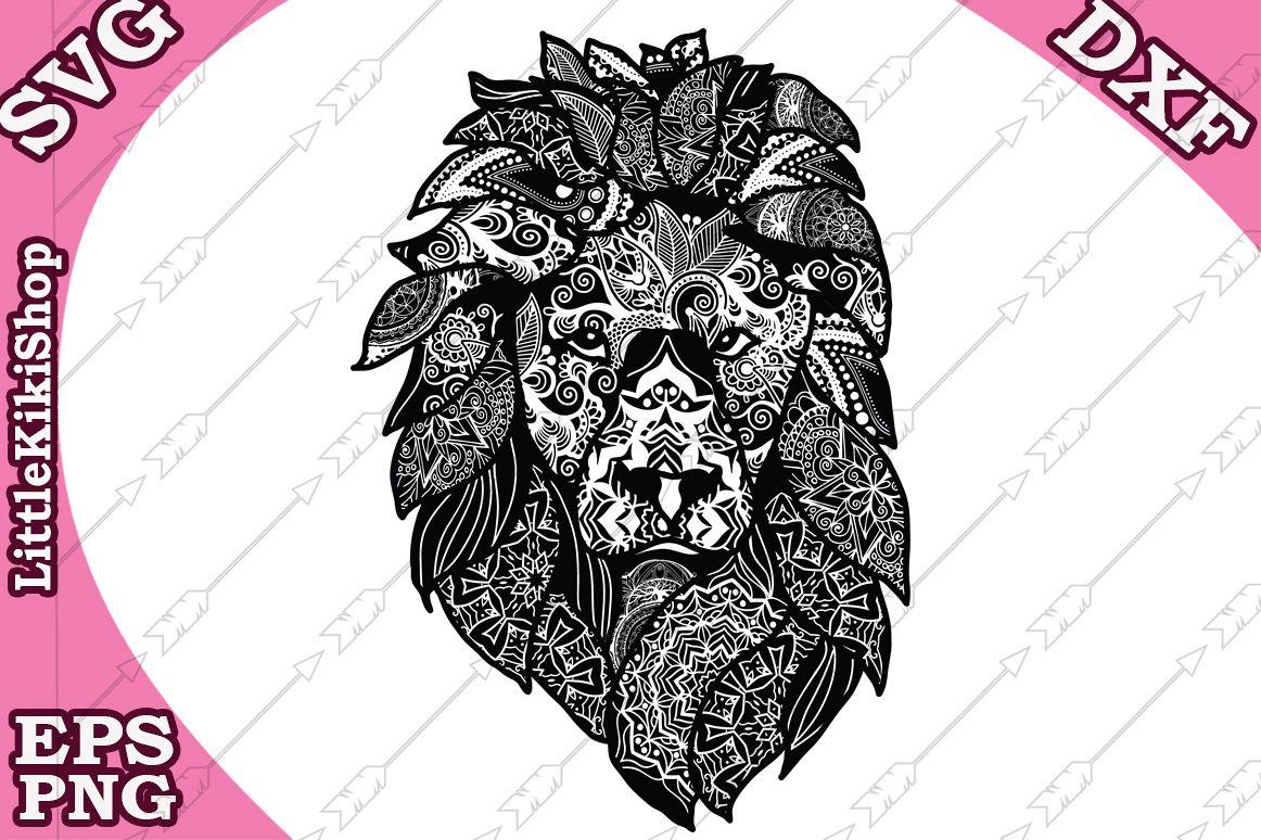 Zentangle Svg, Mandala Lion Svg,Zentangle Lion Svg,Animal Sv example image 1