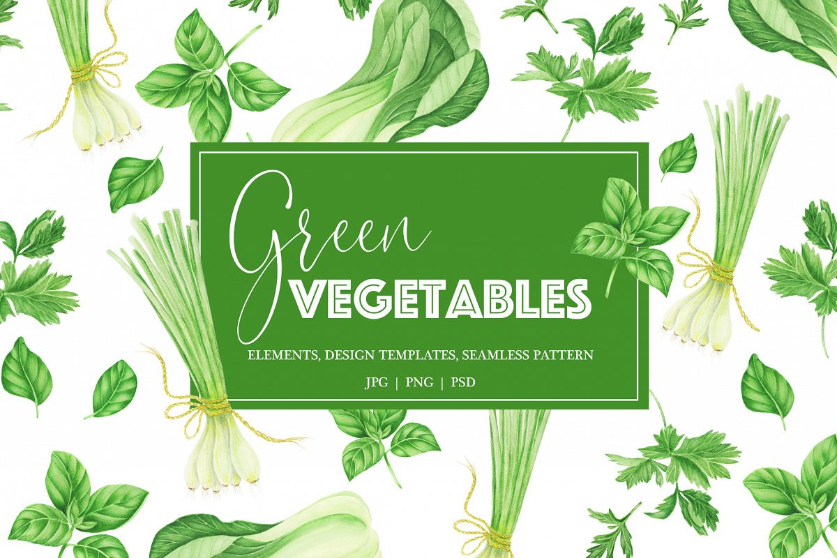 Watercolor green vegetables clipart example image 1