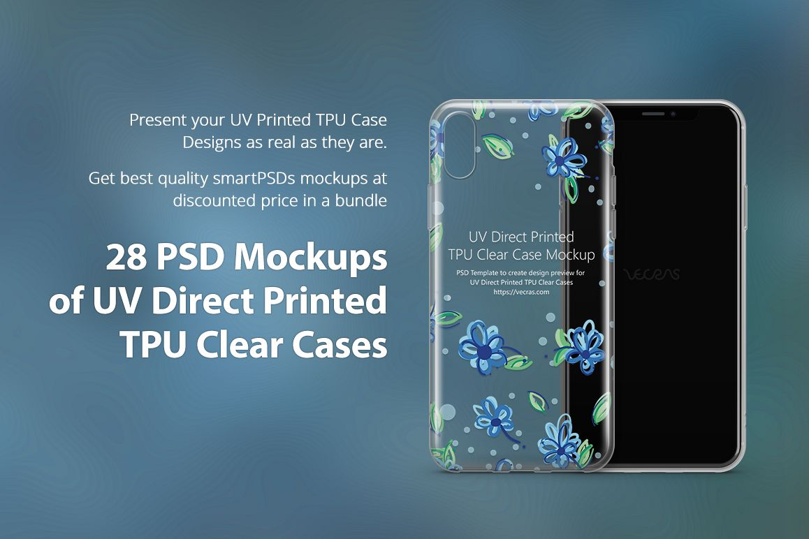 UV TPU Clear Phone Case Mockup Bundle of 28 PSDs example image 1