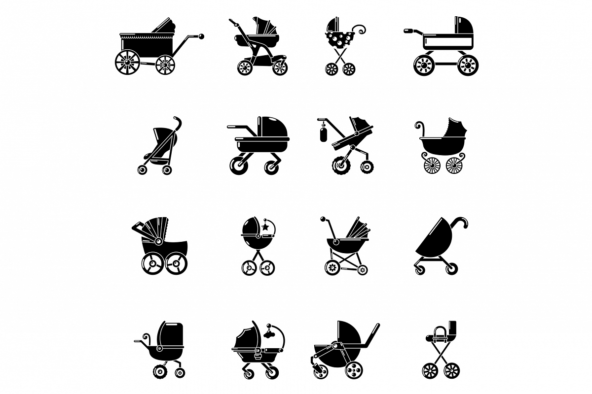 Baby carriage icons set, simple style example image 1