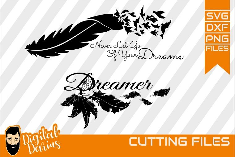 2x Dreamcatcher svg, Feather svg, Digital, Dreams svg example image 1