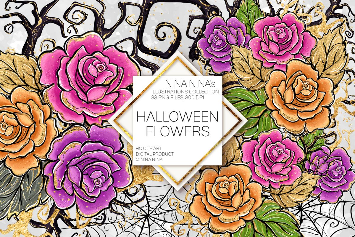 Halloween Flowers Clipart, Roses Clip Art, Stickers PNG Pack example image 1