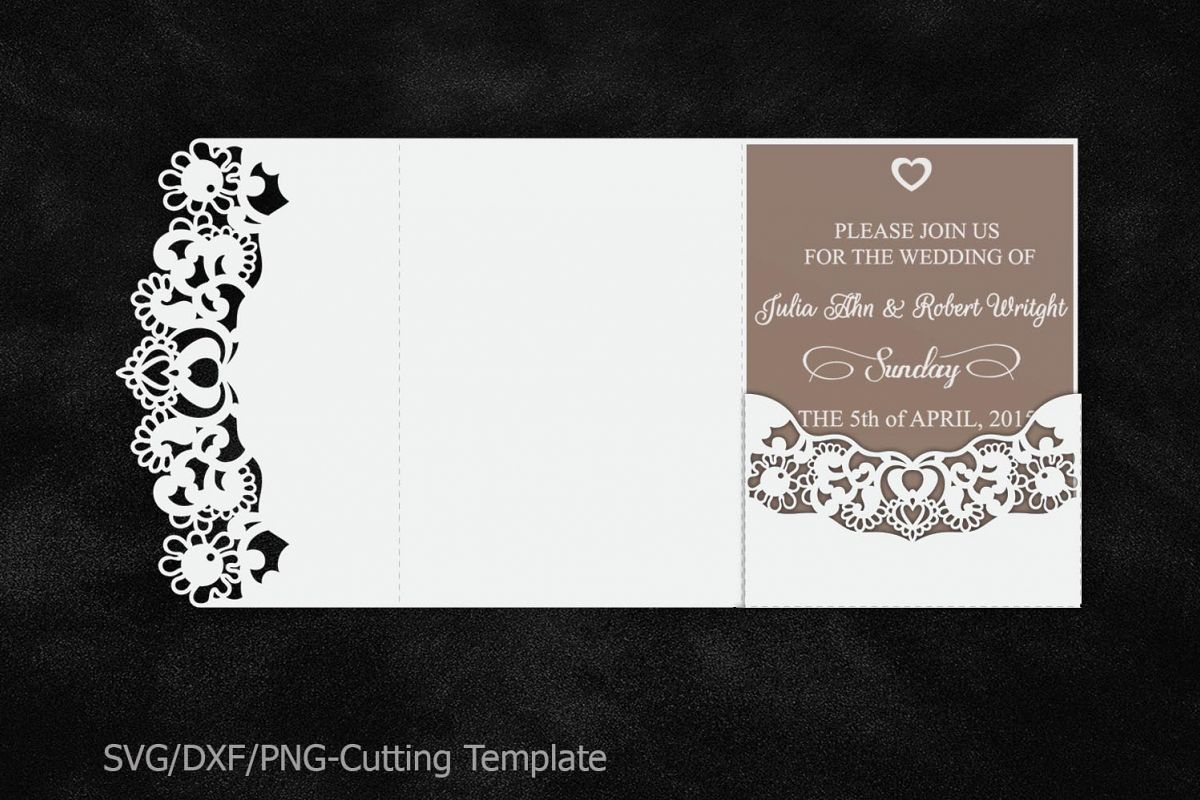 Lace Wedding Invitation Template Laser Cut Pocket