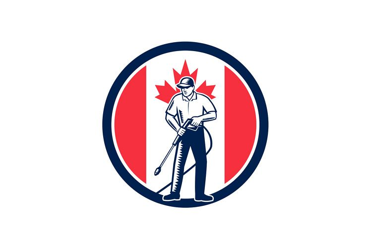 Canada Pressure Washing Flag Circle Retro example image 1