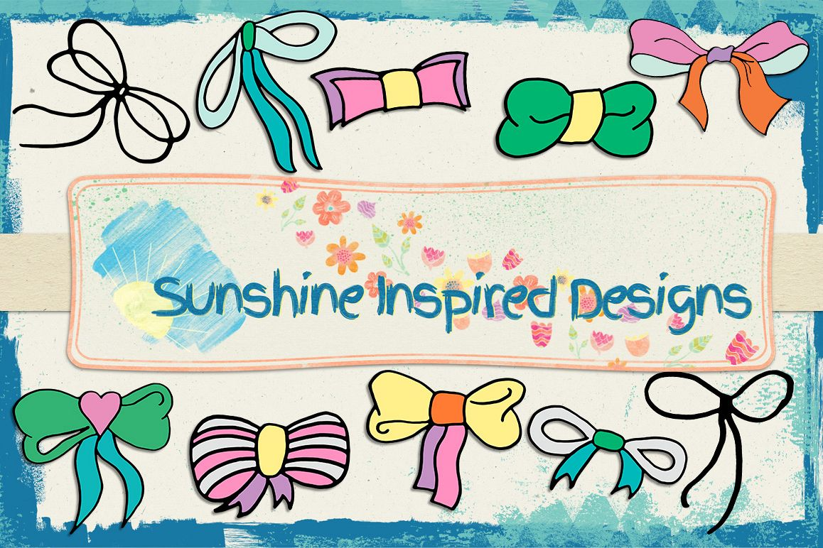 Doodle Bow Templates No.1 by Sunshine I | Design Bundles