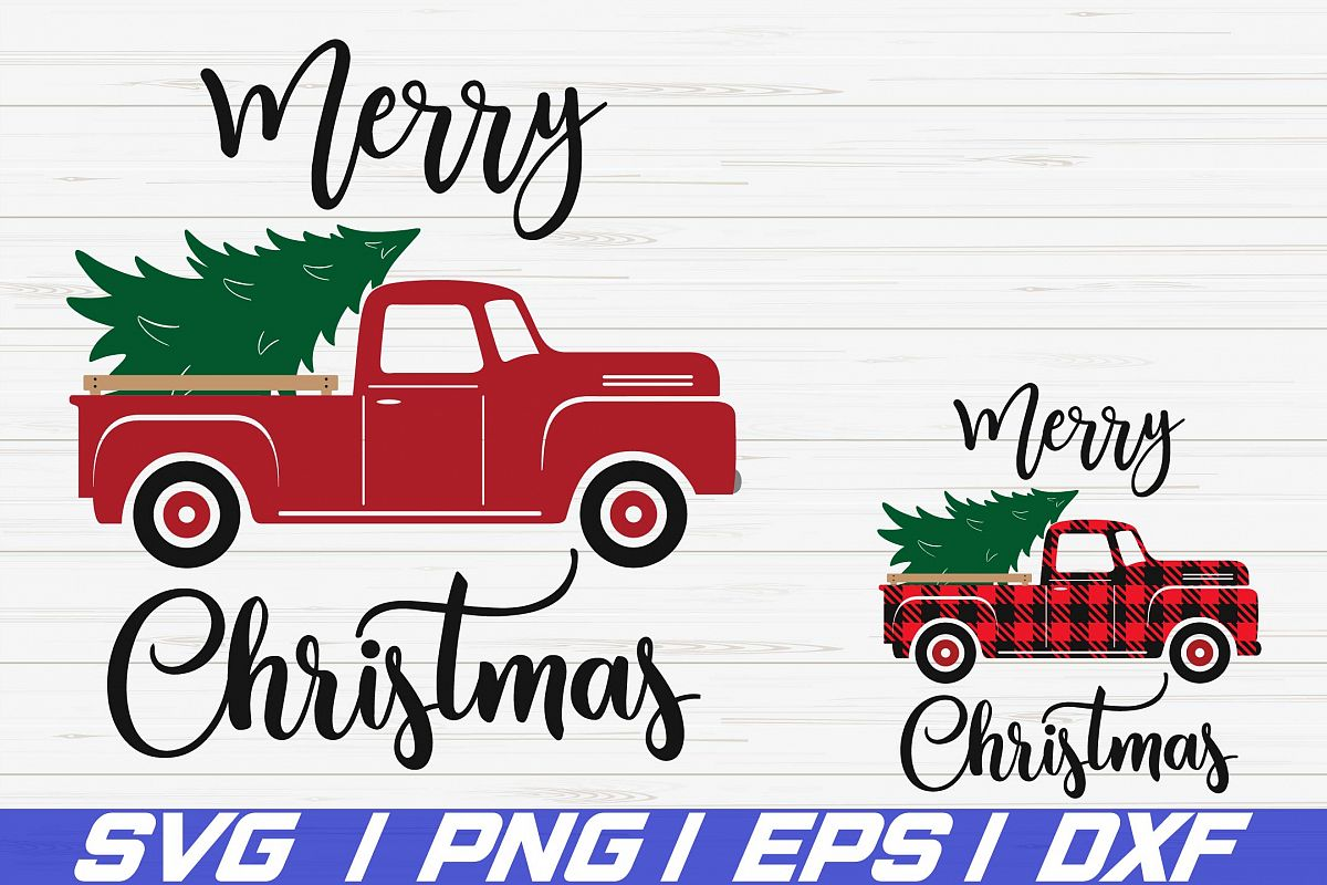 Christmas truck tree SVG / Merry Christmas SVG / Cricut example image 1