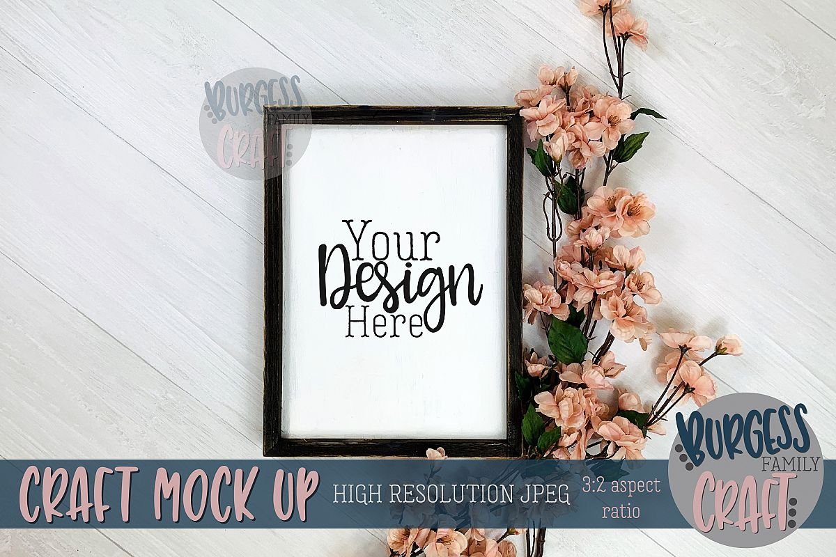 Wood sign blossoms vertical Craft mock up |High Res JPEG example image 1