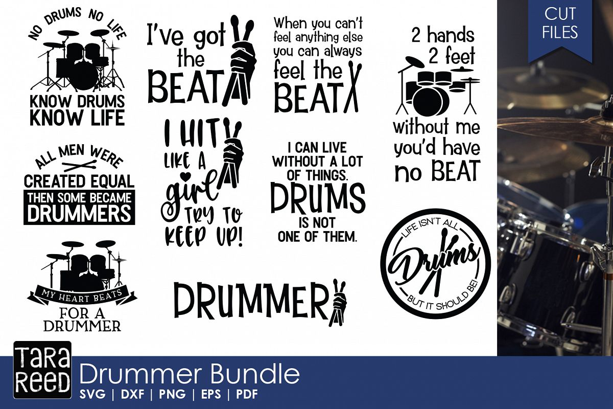 Drummer SVG and Cut Files for Crafters example image 1