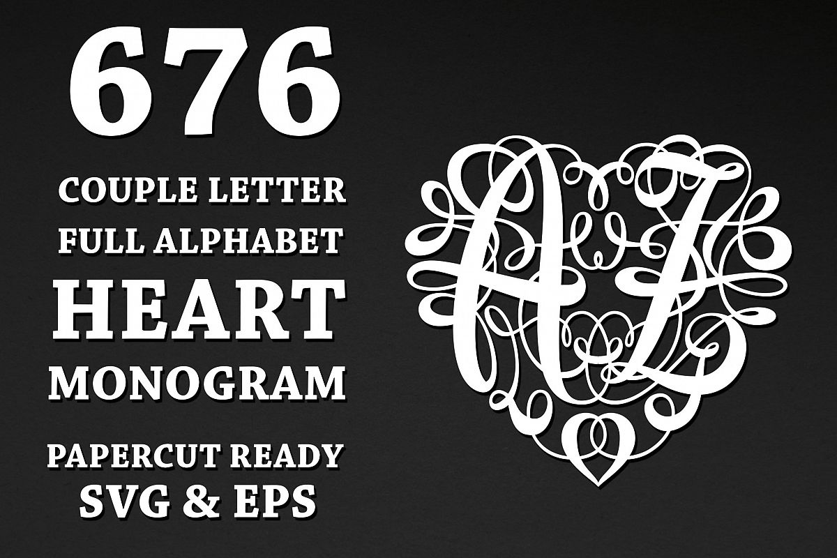 676 Heart Monograms | Ready for Papercut example image 1