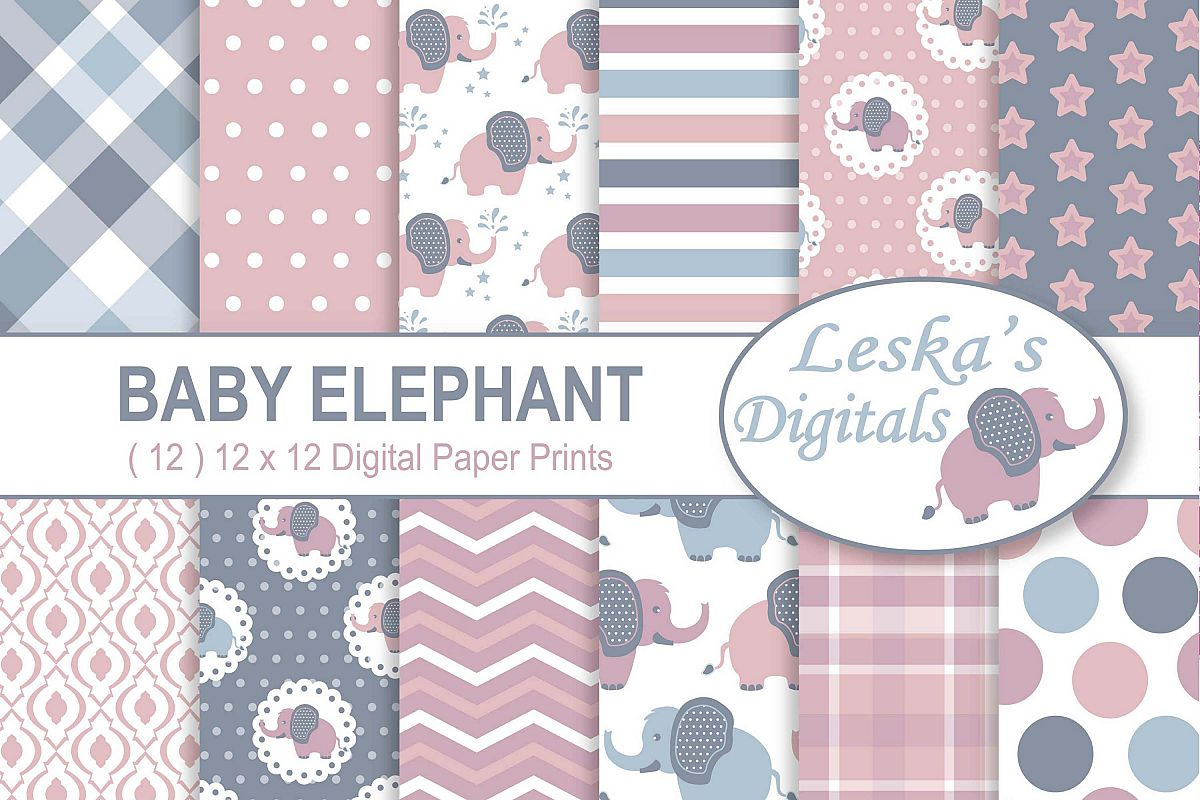 Baby Elephant Digital Paper Patterns - Pink example image 1