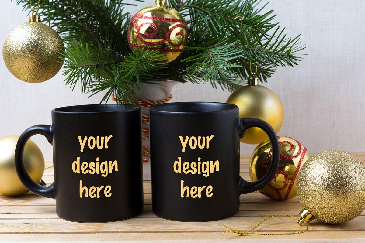Coffee Christmas Ornaments.Two Black Coffee Mug Mockup With Golden Christmas Ornaments