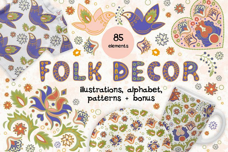 FOLK DECOR Vector Illustration Alphabet Seamless Pattern Set example image 1
