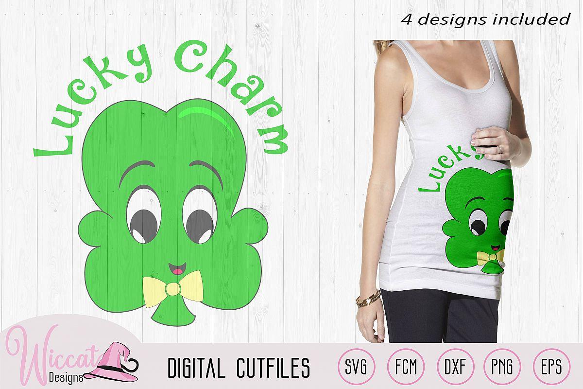 Clover svg, lucky charm svg, shamrock svg, St Patricksday example image 1