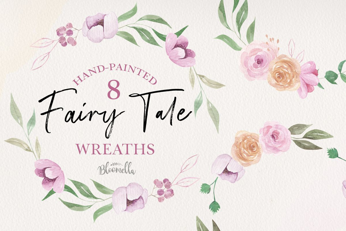 Fair Tale 8 Wreath Watercolor Pink Floral Garlands Peach example image 1