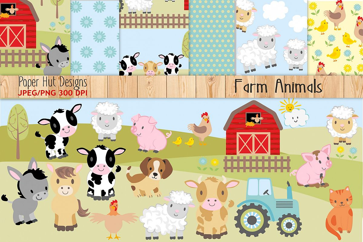 Farm Animals Clipart and Digital Papers
