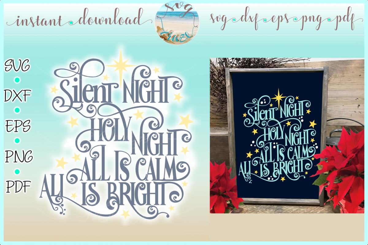 Silent Night Christmas Lyrics SVG DXF EPS PNG PDF