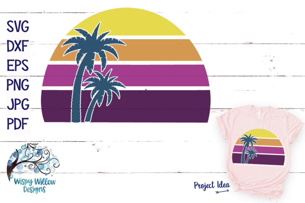 Beach Sunset with Palm Tree SVG | Purple Beach Sunset SVG example image 1