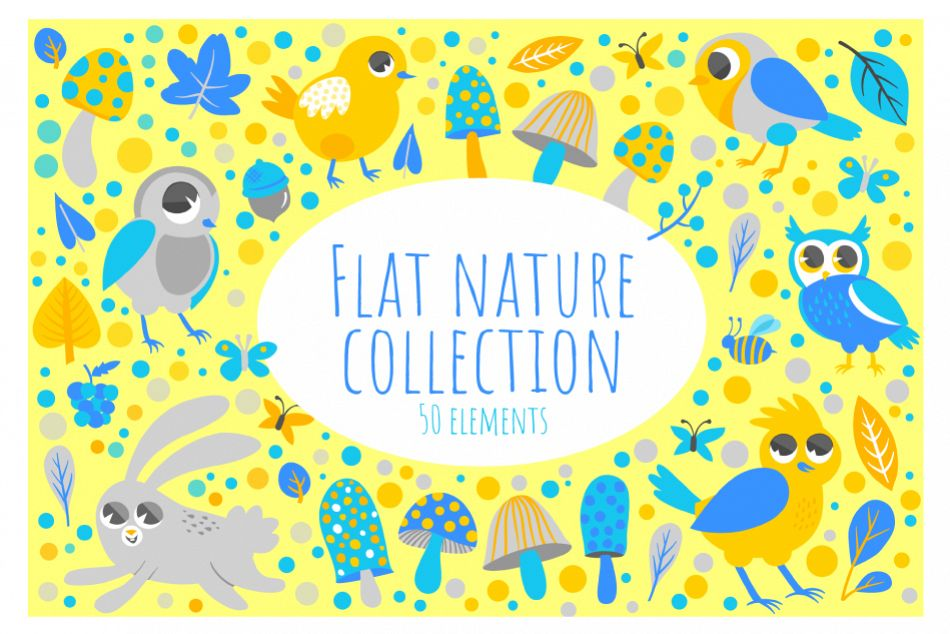 Flat Nature Collection- 50 items example image 1